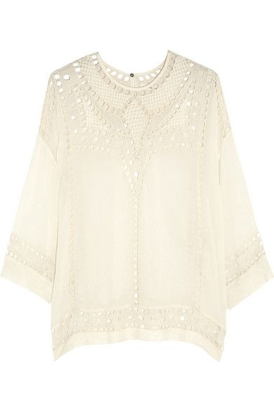 Isabel Marant, blouse, shirt, white, ivory, resort, embroidery, embroidered, eyelet, texture