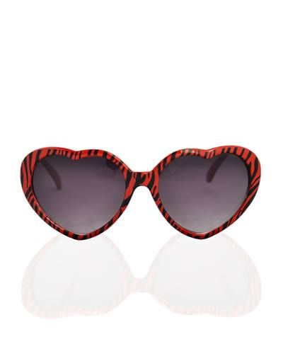Don't Break My Heart Shaped Glasses Red with Black Stripes