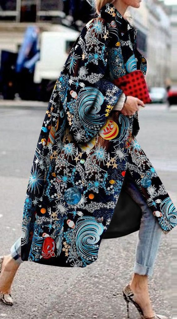 Elegant Fashion Starry Sky Printed Long Sleeve Coat
