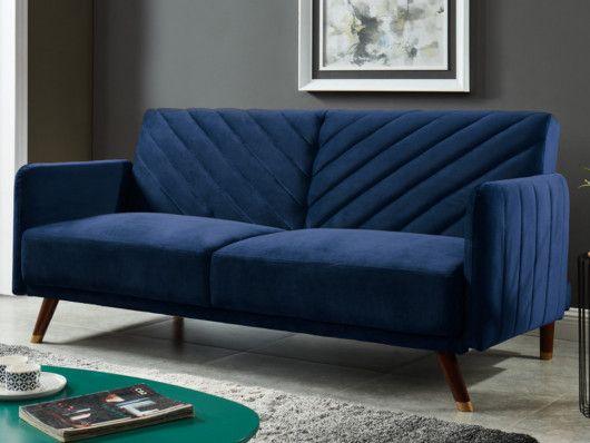 Rozkladana 3 Osobowa Sofa Clic Clac Z Weluru Niebieska Joris