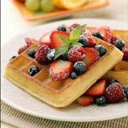 Buttermilk Waffles with Banana-Caramel Sauce | Organic Recipe Book