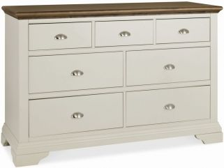 Bentley Designs Hampstead Soft Grey and Walnut Chest of Drawer - 3+4 Drawer