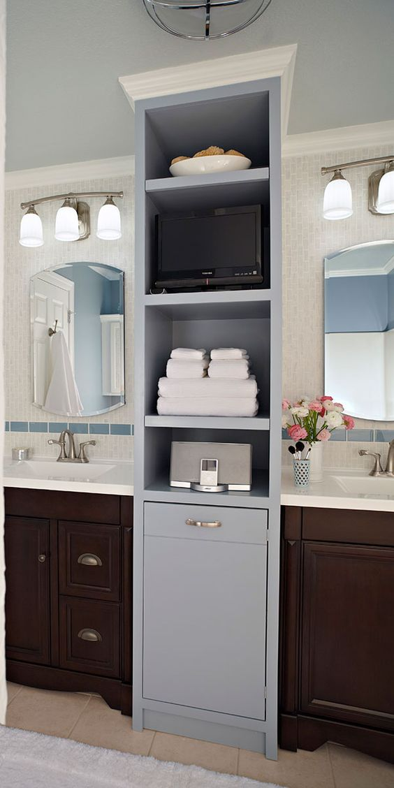 Separate vanities, roomy medicine cabinets, twin sinks, and functional lighting give both him and her their own individual space. A hard-working bath tower, complete with handy electrical outlets, adds extra style and storage. Rough cost estimate $3,500