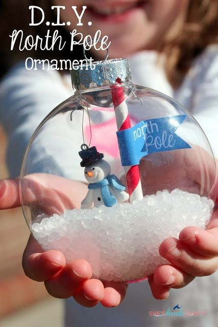 Kids can make these giant Christmas decorations with a snowman inside - easy for little hands to make!