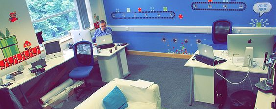 Our office, the walls are inspired by so many games! The App Developers
