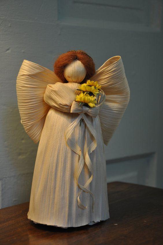 Sunflower Corn Husk Doll Angel Angel Etsy And Sunflowers