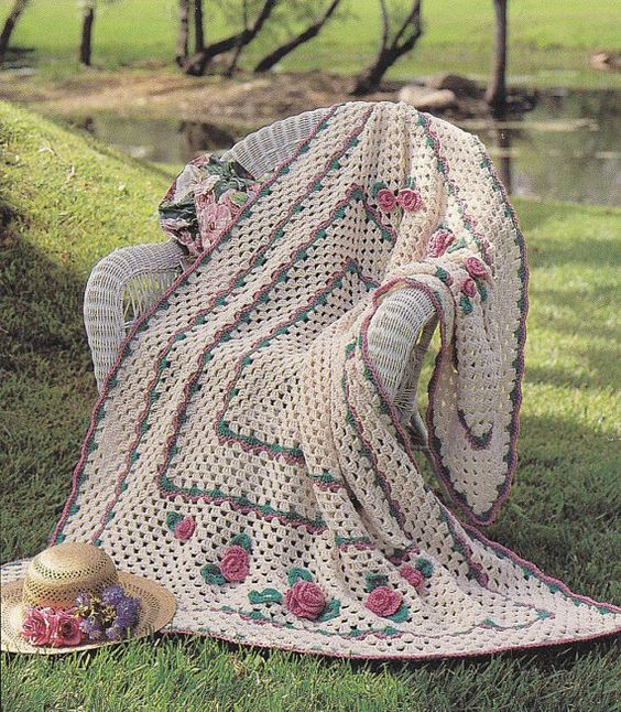 Floral Afghans Crochet Patterns 5 Designs Roses