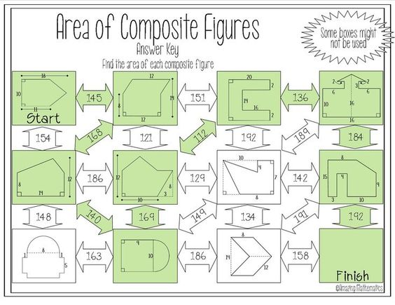 Area of Composite Figures Maze – Area of Complex Figures Worksheet
