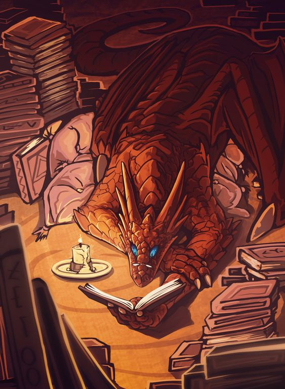 Bookwyrm-maybe he's reading The Hobbit? Though I would hope it's the Enchanted Forest Chronicles.