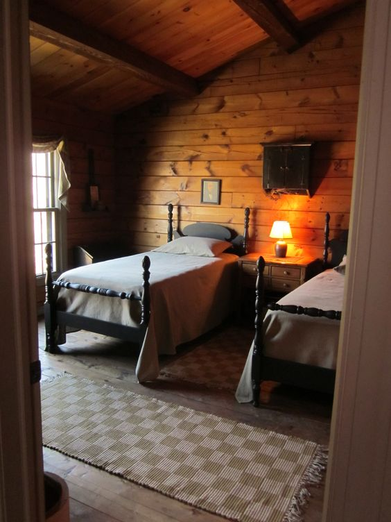 Bedrooms cabin and twin beds on pinterest for Rustic cottage bedroom