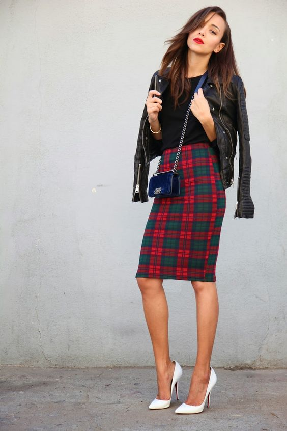 Ring My Bell. Plaid pencil skirt. Fall and winter fashion. Pointed toe heels. Chic.