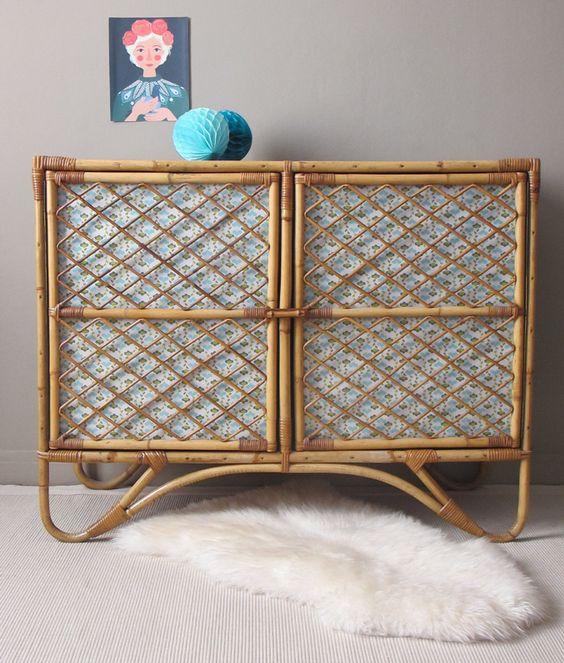 vaisselier armoire basse buffet 2 portes rotin osier bambou vintage de la boutique gabrielleromane sur Etsy: