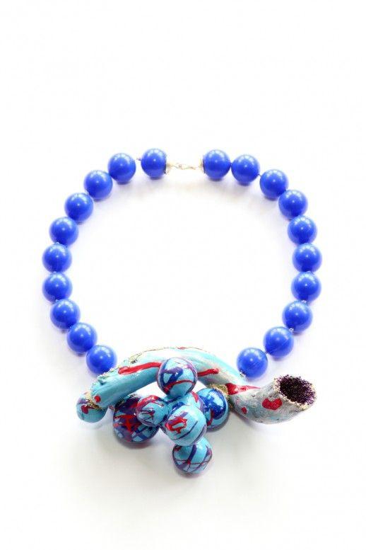 "Viktoria Munzker   necklace ""Calmella Calvolini"" from MICROVITA series 2017 - Driftwood, cotton, silver, plastic beads, granules, lacquer"