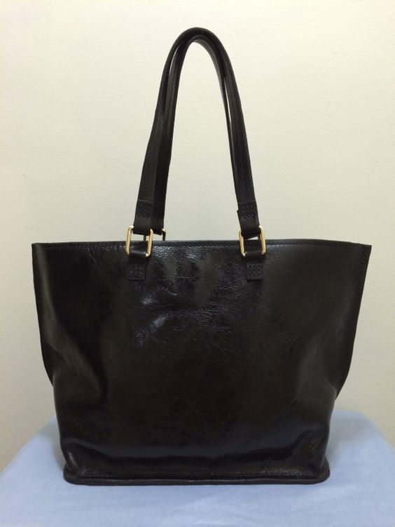 Rodeo Leather Tote Bag in Black - 100% Authentic Leather - Handmade in USA and made in California. The appearance is a shiny almost patent leather like but with a distressed look. The effect is an impressive mix of suede and shiny distressed Rodeo Leather. Get this purse here: http://aftcra.com/item/3832