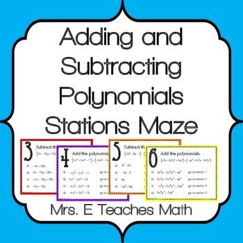 math worksheet : add and subtract polynomials stations maze activity  maze  : Adding Subtracting Polynomials Worksheet