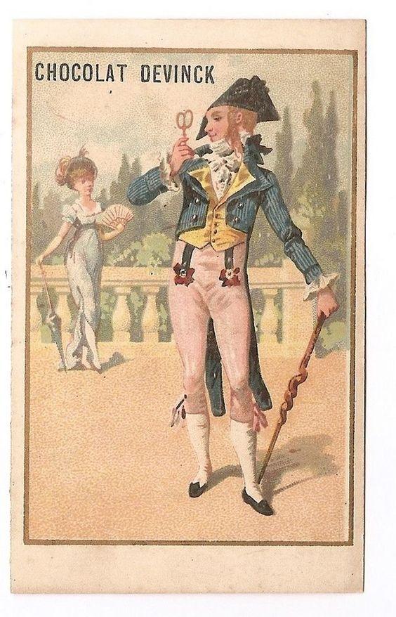 Mode Jeune homme costume  Jeune femme  -  - Chromo Chocolat Devinck - Trade Card