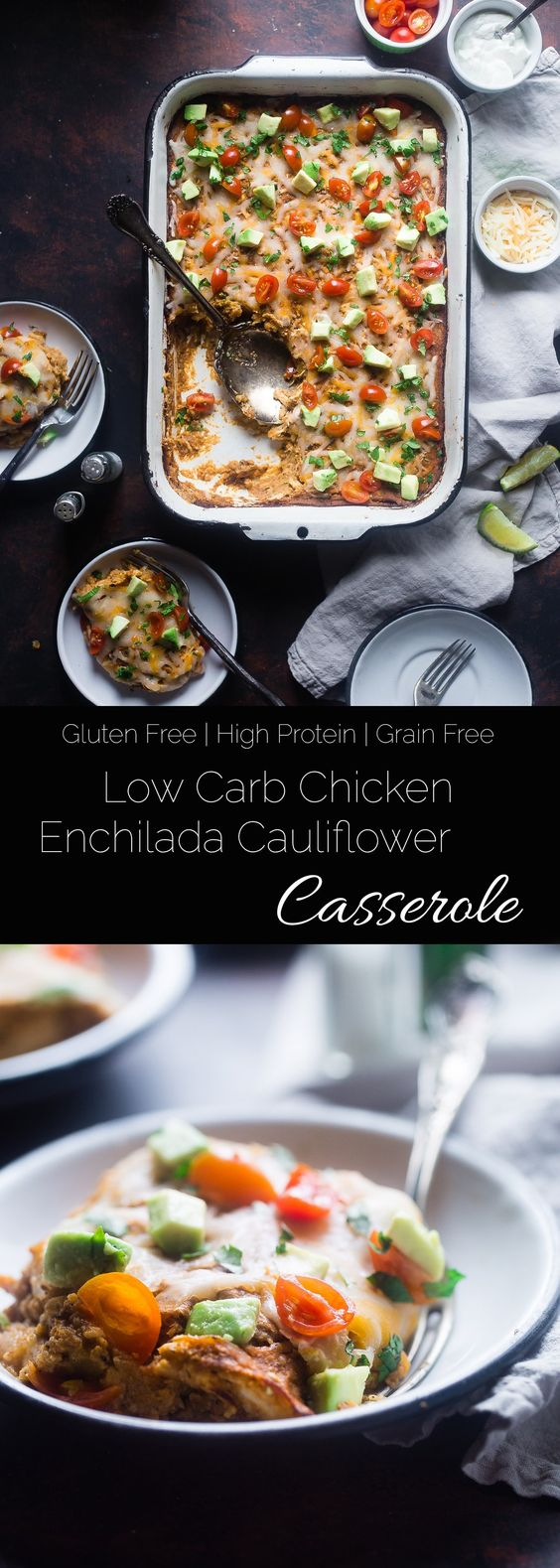 Low Carb Chicken Enchilada Casserole - This healthy casserole tastes like your favorite Mexican dish, but is made with cauliflower so it's low carb and under 300 calories! It's a gluten free, weeknight meal that everyone will love! Great for meal prep too! | Foodfaithfitness.com | @FoodFaithFit