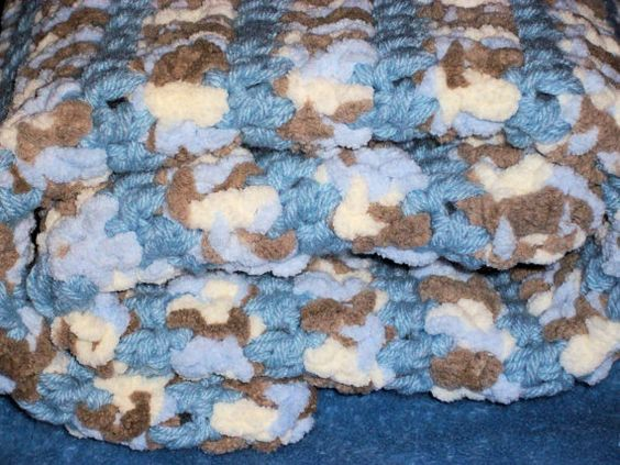 Crocheted  Baby Boy Blue Brown White Cuddly by Freshofftheneedle, $25.00