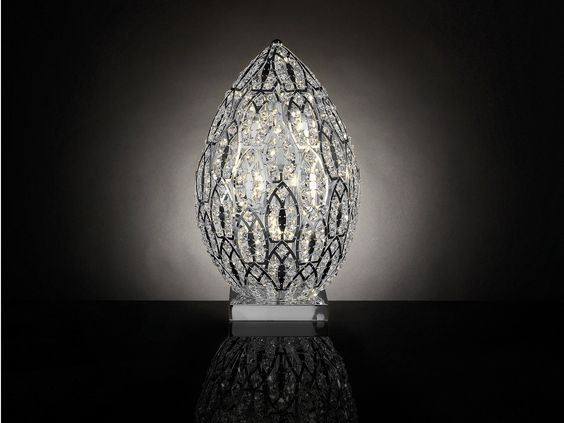 lampada da tavolo in acciaio in stile classico egg arabesque ... - Larabesque Lampade