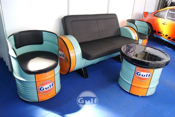 Gulf,Harley,Porsche... Retro Klassische Ölfass Sofa,Kanapee,Couch Designmöbel | eBay
