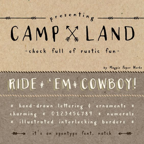 Campland Font via Magpie Paperworks