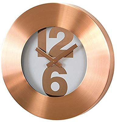Time Concept 12 Round Bold Number Wall Clock Copper Metal Steel Frame Analog Time Display Home Decor Wall Clock Copper Home Decor Wall Clock