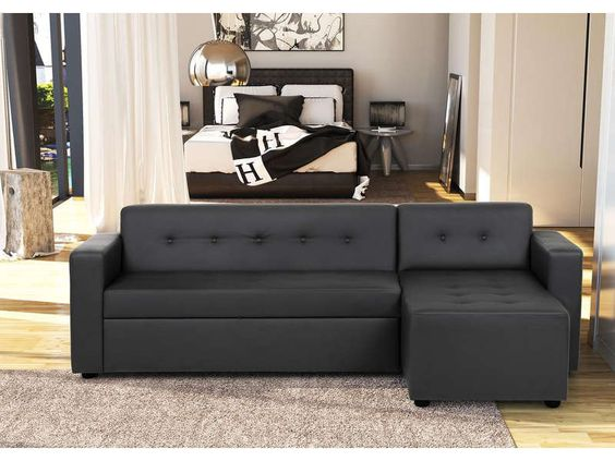 canap d 39 angle convertible pedro coloris noir prix promo canap conforama pas cher. Black Bedroom Furniture Sets. Home Design Ideas
