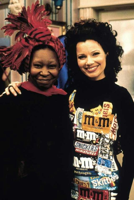 I love Fran's candy wrapper dress and Whoopi Goldberg