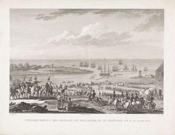 Jacques Couché | Vertrek van de Britten uit Noord-Holland, 1799, Jacques Couché, 1800 - 1825 | De soldaten van de Brits-Russische invasiemacht verlaten Den Helder op 29 november 1799. Met sloepen worden de manschappen naar de gereedliggende schepen gebracht.