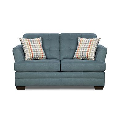 Simmons Velocity Denim Loveseat With Fairhope Cornflower Patterned Pillows At Big Lots Stuff