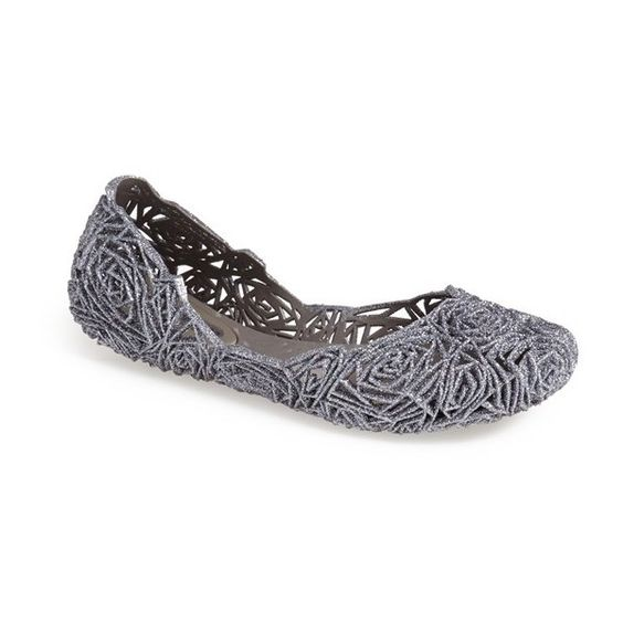 Melissa Women's Melissa 'Campana Fitas' Jelly Flat (119 CAD) ❤ liked on Polyvore featuring shoes, flats, black glitter jelly, jelly flats, melissa footwear, black shoes, flat shoes and flat pumps