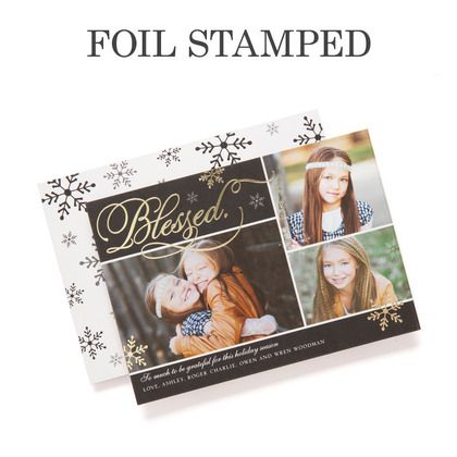 Shining Blessing - Foil Stamped Holiday Cards by simplyput by Ashley Woodman for Tiny Prints in black