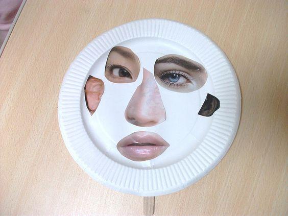 Fazendo rostos com pratos descartáveis