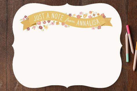Just a Floral Banner Personalized Stationery
