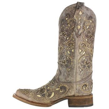 Corral Women's Vintage Inlay and Stud Square Toe Western Boots