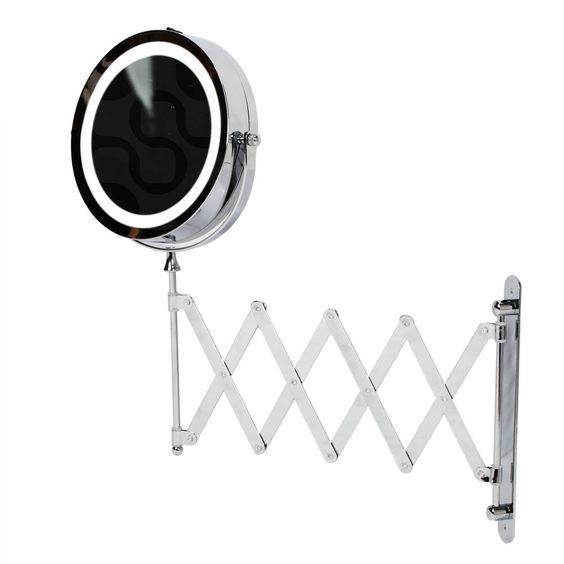 Kenley Extendable Wall Round Shaving Cosmetic Vanity Mirror - LED Illuminated