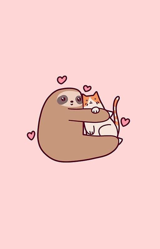 Sloth Loves Cat Iphone Case Cover By Saradaboru In 2021 Cute Cartoon Wallpapers Funny Phone Wallpaper Cute Kawaii Drawings