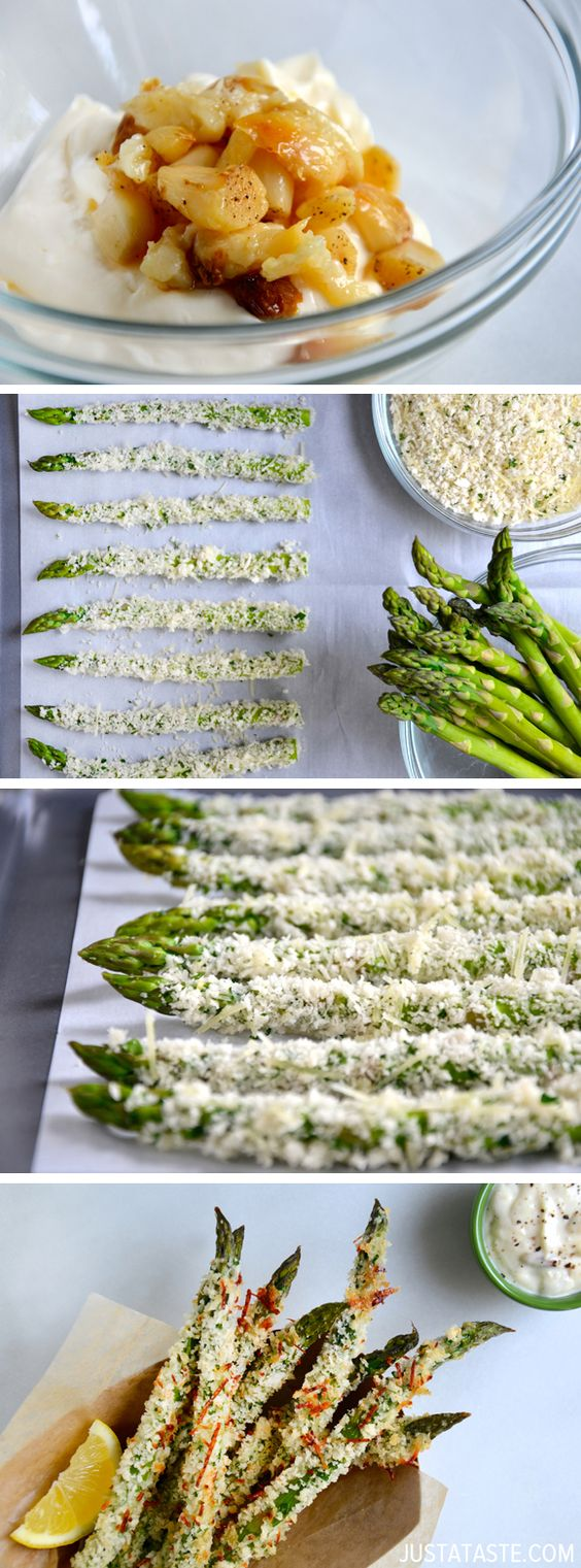 Baked Asparagus Fries with Roasted Garlic Aioli | Recipe ...