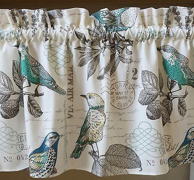 1 bird old postcard window valance curtain cotton duck spring ...