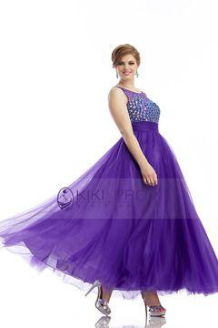 Magnificent Scoop A Line Prom Dress Floor Length Rhinestone Beaded Bodice Tulle USD 179.99 KKPM9RTN9S - KiKiProm.com