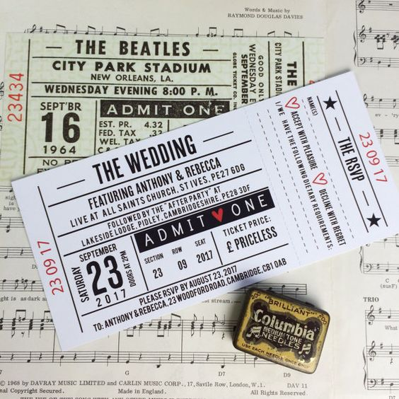 wedding party invitations gig concert ticket design
