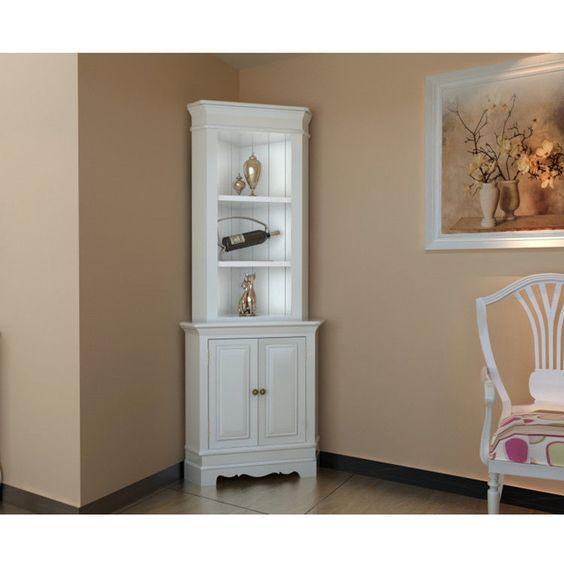 Corner display cabinet wooden shelf shabby chic unit white for White shabby chic living room furniture
