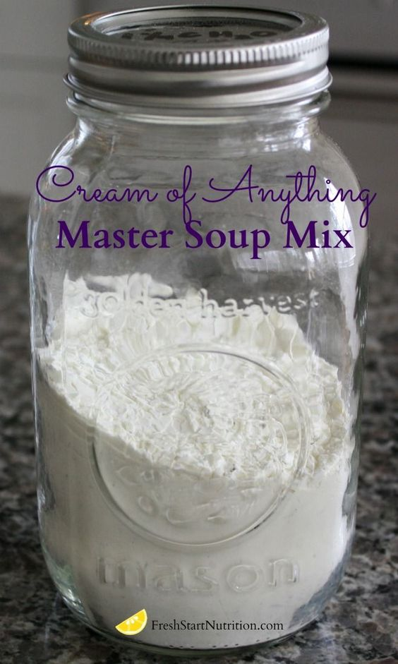 Cream of Anything Master Soup Mix.  When you need a cream soup:  1.  Add 1/3 cup dry soup mix to 1 1/4  cup water in a small saucepan. (I write the recipe with a dry erase marker on the lid.)