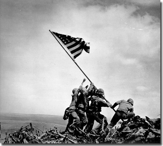The raising of the flag at Iwo Jima is perhaps the most famous war photograph ever. The flag was raised by five US marines and one navy corpsman atop Mount Suribachi in 1945. Few are aware that this was the second flag; the first was too small and couldn't be seen by the Marines on the island, and photographer Joe Rosenthal, who received a Pulitzer Prize for the image, only arrived in time for the second shot.
