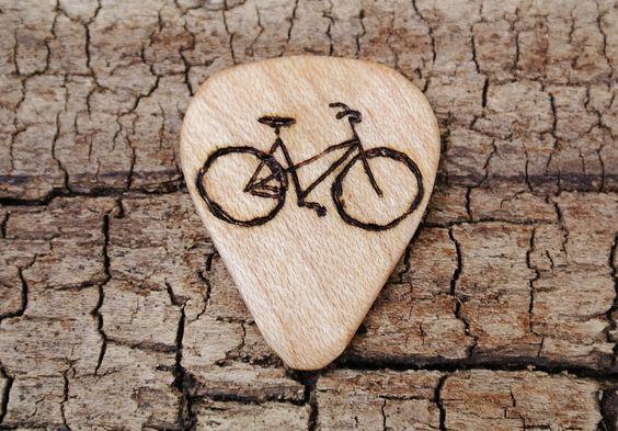 Vintage Bike Engraved on Wooden Guitar Pick Many more designs ...