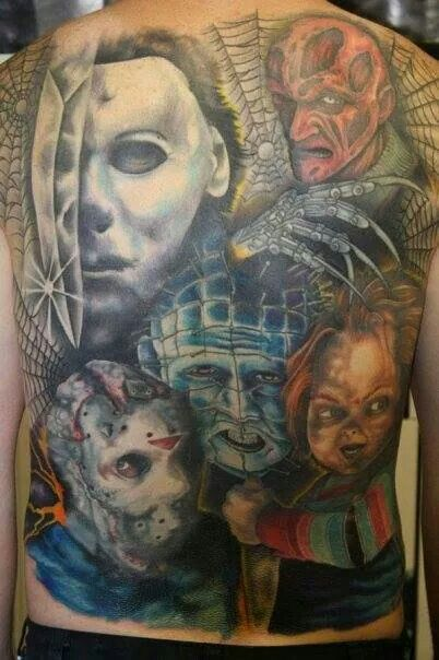 Badass back tattoo horror slasher characters pinhead for Back mural tattoos