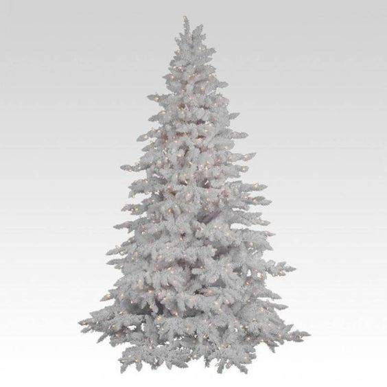 37 Awesome Silver And White Christmas Tree Decorating Ideas Unlit Christmas Trees Flocked Christmas Trees White Christmas Tree Decorations