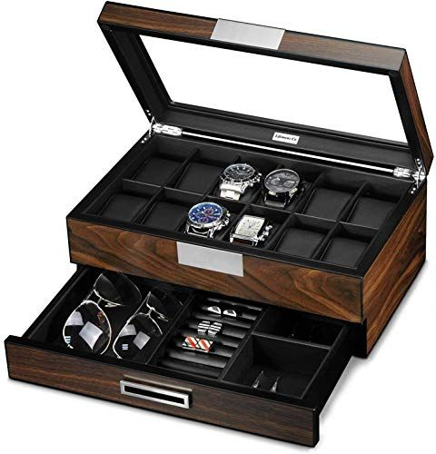 New Lifomenz Co Wooden Watch Box Men Watch Jewelry Box Organizer Valet Drawer 12 Slot Watch Display Case Holder Large Watch Men Accessories Organizer Real Gl Watch Jewelry Box Mens Watch Box Wooden
