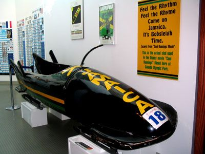 "Adam's favourite prop - the bobsleigh from ""Cool Runnings"""