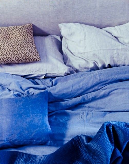 Linen Bed. Ocean Blue.  Styled by Twig Hutchinson.  Photographed by Emma Lee